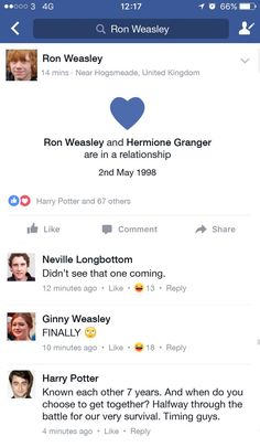 Ron and Hermione's Facebook official relationship - CosmopolitanUK