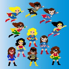 Girl Superhero Clip Art / Little Girls Superheroes / Supergirls Digital Clipart / Cute Super hero girls Clipart for commercial use
