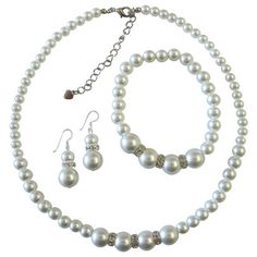 NS529  White Pearls Bridemaides Pearls Jewelry Set Necklace Sterling Silver Earring Stretchable Bracelet Free Shipping In US