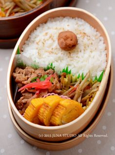 Bento Boxed Lunch with Umeboshi (Pickled Plum)