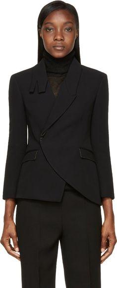Costume National: Black Asymmetrical Collar Blazer