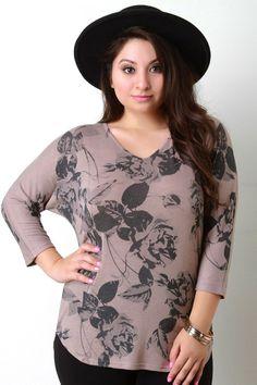 Floral Print V-Neck Dolman Sleeves Top