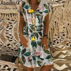2019 Summer Dress Women Vintage Floral Printed Cotton Linen Vestido Robe Kaftan Femme V Neck Short Sleeve Party Sundress Short Sleeves, Short Sleeve Dresses, Dresses With Sleeves, Long Sleeve, Vintage Shorts, Summer Dresses For Women, Spring Dresses, Floral Shorts, Fashion Prints