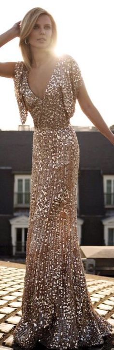 Long gold evening gown. Exquisite.