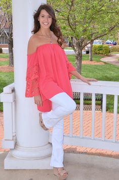 Go With the Flow tunic, coral – Chapter 2 Boutique