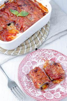 Involtini light di melanzane Veggie Recipes, Healthy Recipes, Lentil Stew, Rigatoni, Antipasto, Italian Recipes, Curry, Food And Drink, Tasty