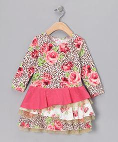 Baby Nay Pink Leopard & Rose Emma Ruffle Dress