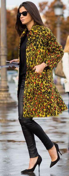 Style Du Monde - Barbara Martelo - P F W - S S 2016 - Mustard Leo Coat Fall Street Style Inspo #Fashionistas