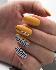 Stylish Nails, Trendy Nails, Diy Nails, Cute Nails, Zebra Print Nails, Zebra Acrylic Nails, Pastel Nails, Yellow Nails, Creative Nails