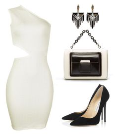 """""""Inighi Cut-Out Dress"""" by eme-bassey on Polyvore featuring Jimmy Choo, Balenciaga and Lulu Frost"""