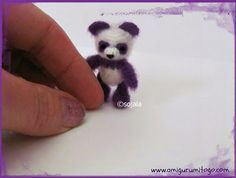 Amigurumi+To+Go:+Miniature+Purple+Panda+Crochet+Thread+Pattern for free! Crochet Pattern Free, Crochet Thread Patterns, Amigurumi Patterns, Bear Patterns, Afghan Patterns, Doily Patterns, Dress Patterns, Knitting Patterns, Crochet Bear