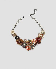 ZARA - WOMAN - FLORAL NECKLACE WITH FAUX PEARLS