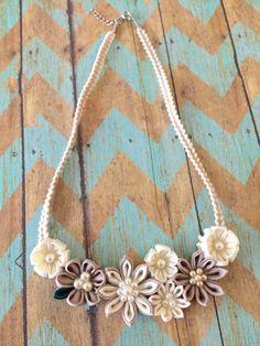 Kanzashi Flower Statement Necklace Beige/ by LilsHandmadeGarden