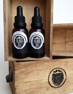 Branding project for university | Razors Beard Oil | A fictional line of beard oils for a local barber shop | Lino cut logo & Hand painted boxes to look rustic |