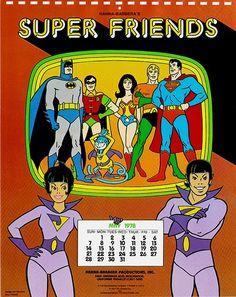 """Calendario de 1978 de """"Los Super Amigos"""" de Hanna-Barbera."""