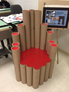 Cardboard chair I made for my class at VUA collection of cardboard furniture ideas that you can make yourself and apply at home. See more ideas about stool and cardboard design.Cardboar d chair Cardboard Chair, Diy Cardboard Furniture, Cardboard Design, Diy Furniture, Barbie Furniture, Furniture Design, Garden Furniture, Cardboard Playhouse, Coaster Furniture