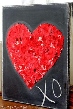 chalkboard sequin heart art