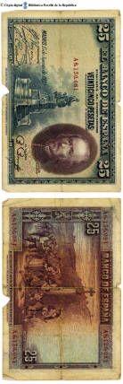 España - 25 ptes. : El Banco de España pagará al portador 25 pesetas, Madrid, 15 de agosto de 1928 :: Paper moneda del Pavelló de la República (Universitat de Barcelona)