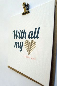 With All My Heart Thank You  Hand Screenprinted Card by onelantern, $5.00