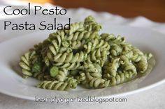 simply organized: recipe: cool pesto pasta salad