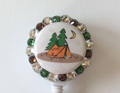 Campers Tent Decorative Badge/ID/Name Holder with Charm/Beads by Lindasbadgeboutique on Etsy