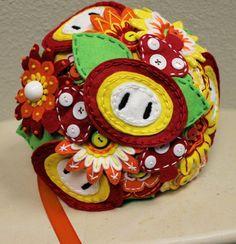 geeki, idea, craft, flower bouquets, wedding bouquets, video games, super mario, flowers, felt bouquet