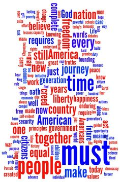 Word cloud: President Obama's second inaugural address. Click through for a transcript of the full speech.  http://current.com/groups/news-blog/94027350_word-cloud-president-obamas-second-inaugural-address.htm #inauguration #infographic