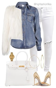 """""""Untitled #2702"""" by highfashionfiles on Polyvore featuring FiveUnits, VILA, Hermès, Christian Louboutin, Phyllis + Rosie, Giamba and Versus"""