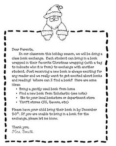 Sample room mom intro letter google search homeroom mom book exchange for christmas can do for a room mom activity spiritdancerdesigns Images