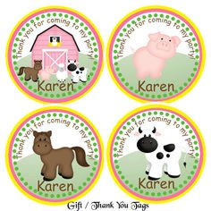 Barn Yard Farm Animals Pink Thank You Tags- Set of 12 Personalized Party Decorations. $6.00, via Etsy.