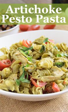 This easy healthy recipe is perfect for a quick dinner tonight Healthy Artichoke Pesto, This pesto is dairy free, vegan, gluten free, low fat and full of flavor.