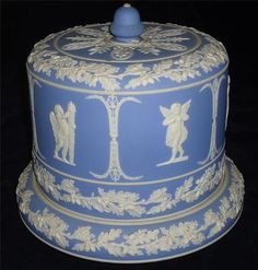 VICTORIAN LARGE WEDGWOOD JASPERWARE STILTON CHEESE DOME & BASE STAND