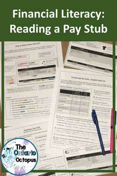 Practice reading pay stubs with these 8 samples and matching worksheets.  Perfect for secondary students working on financial literacy or life skills.  Available through Teacher Pay Teachers, this pdf resources includes access to author-created digital overlays for use through the TpT Digital Activity feature.  Perfect for in person, blended, or distance learning.  Originally created for Ontario's MEL3E course. Literacy Skills, Financial Literacy, Ontario Curriculum, Matching Worksheets, Direct Instruction, Secondary Math, Student Work, Teacher Pay Teachers, Math Centers