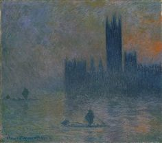 The Houses of Parliament (Effect of Fog), 1903–4  Claude Monet (French, 1840–1926)  Oil on canvas  32 x 36 3/8 in. (81.3 x 92.4 cm)