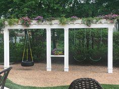 36 Super Ideas Backyard Shade Diy Swing Sets …o construct an aluminum pergola … Backyard Swings, Backyard Shade, Backyard Playground, Backyard For Kids, Backyard Landscaping, Landscaping Ideas, Playground Swing Set, Kids Yard, Shade Ideas For Backyard