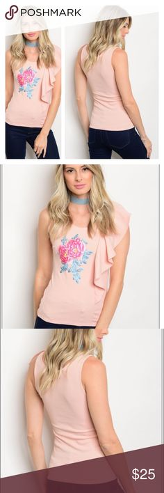 🎊NEW item🎊 Mauve Floral Embroidery Top This cute top has a scoop neck and one shoulder ruffle with embroidered details! This would make an amazing top to wear on a night out! It's 95% polyester and 5% spandex made in the USA 🇺🇸!!! I have these awesome top in small medium and large! Please feel free to ask questions and make bundles!!! 🎉 freesia Tops