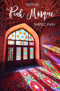 Bursting with colors. How the Pink Mosque in Shiraz looks like? Nasir-al-Molk Mosque in Iran.