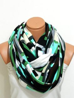 Striped Infinity Scarves textile NeonBlack by WomensScarvesTrend, $23.00