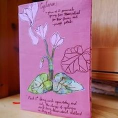 A field notebook style notebook cover I made in the summer.  #etsysellers #etsy #raggedyruffdesigns #cyclamen #fielddiary2015