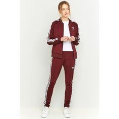 adidas Originals 3 Stripe Slim-Fit Maroon Tracksuit Bottoms ($59) ❤ liked on Polyvore featuring maroon and adidas originals