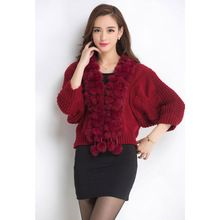 Spring Autumn Winter women sweater and pullover with Real Natural Rabbit Fur Collar Scarf Half sleeve Christmas gift sweaters(China (Mainland))