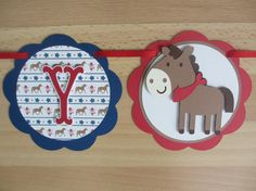 Cowgirl Cowboy Western Birthday Party Banner Sign Horse Pony Horseshoe Boot Red Blue Brown Tan by PeachyPaperCrafts