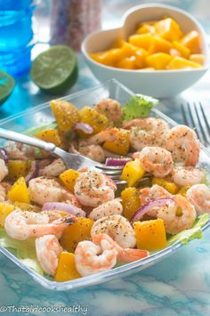 Cold mango prawn salad
