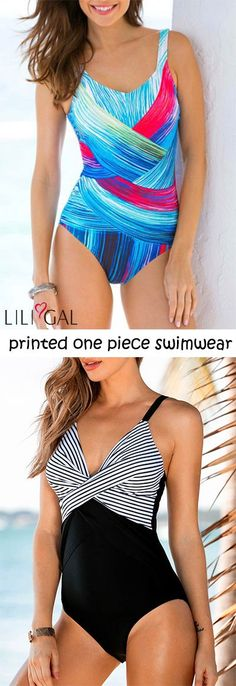 4794d532ee940 2018 Summer Trends: printed one piece swimwear, features Scoop Back, Deep V  Neck