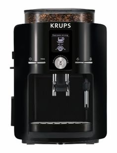 KRUPS EA8250 Espresseria Fully Automatic Espresso Machine with Built-in Conical Burr Grinder, Black. knowyourgrinder.com #coffee #burrgrinders #coffeemills #homebrew