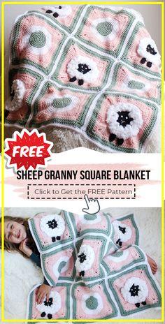 Crochet Sheep Free Pattern, Granny Square Pattern Free, Granny Square Blanket, Granny Squares, Free Crochet, Baby Afghan Crochet, Afghan Crochet Patterns, Crochet Blankets, Crochet Granny
