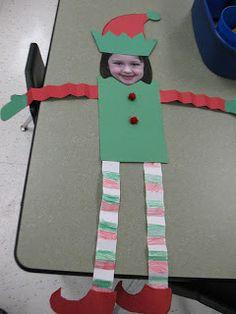 Cute idea for kids to make Christmas-themed elves/Santa's helpers for a classroom bulletin board.