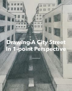 Drawing A City Street In Perspective Interior Architecture Drawing, Architecture Drawing Sketchbooks, Architecture Concept Drawings, 1 Point Perspective Drawing, Perspective Art, Two Point Perspective City, City Drawing, House Drawing, Art Drawings Sketches Simple
