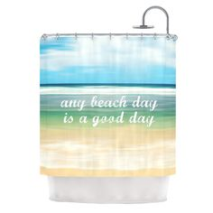 "Sylvia Cook ""Any Beach Day"" Coastal Typography Shower Curtain"
