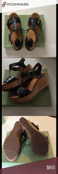 "Clarks Caslynn Paula sz 9.5 med Clarks black leather wedge t strap sandal with cork bottom sz 9.5 med 3"" heel hight with 1 1/4"" platform cushioned footbed adjustable straps I wear a sz 9 and these are perfect very soft and comfortable I just never wore them they're brand new!!! Clarks Shoes Sandals"